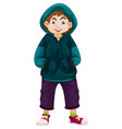 boy in green sweater vector image vector image