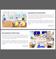 business seminar web pages set vector image vector image