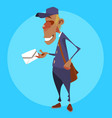 cartoon male postman with a letter in his hand vector image