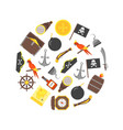 cartoon pirate signs round design template ad vector image