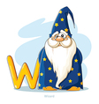 Cartoons Alphabet Letter W with funny Wizard vector image