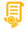 Certified Scroll Document Icon vector image vector image