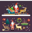 Christmas and New Year icons set in flat vector image vector image