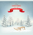 christmas holiday background with a snowy vector image vector image