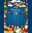 christmas holiday calendar of 2018 new year design vector image