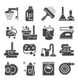 cleaning gray icons set laundry sponge vector image