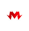 creative sharp red m letter font logo vector image