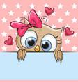 cute cartoon owl girl is holding a placard vector image vector image