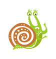 cute scared snail character funny mollusk vector image vector image