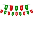 Decorative flags on greeting happy Christmas vector image