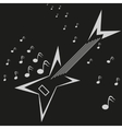 Electric guitar and music notes logo template vector image vector image
