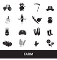 farm black simple icons set eps10 vector image vector image