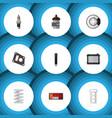 flat icon auto set of packing crankshaft vector image vector image