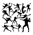 football player silhouettes vector image vector image