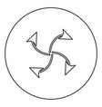 four arrows in loop from center black icon vector image