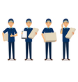 Full length portrait of delivery man in blue vector image vector image