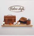 gentleman accessories realistic shelf vector image vector image