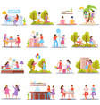 girls friendship orthogonal icons vector image