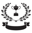 graphic trophy olive leaf and ribbon vector image vector image