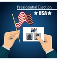 hand hold flag ballot voting usa election graphic vector image vector image