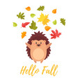 hedgehog tossing autumn colorful leaves vector image vector image