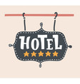 hotel emblem or signboard with five gold stars vector image vector image