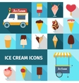 Ice cream square icons set vector image vector image