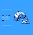 isometric airport terminal and airplane vector image