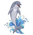 jumping dolphin character vector image