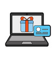 laptop with ecommerce app vector image vector image