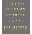 letters and numbers gold alphabet vector image
