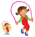 little girl jumping rope vector image vector image