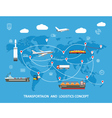 Logistics flat global transportation concept vector image vector image