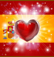 love spain flag heart background vector image vector image