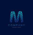 m letter logo science technology connected dots vector image vector image
