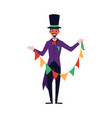 magician man in purple costume and top hat holding vector image vector image
