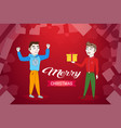 man holding gift box present for friend happy new vector image vector image