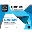 Modern certificate with polygonal background vector image vector image