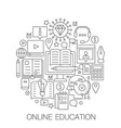 online education in circle - concept line vector image