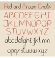 Red and brown chalk alphabet vector image vector image