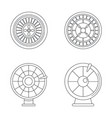 roulette wheel fortune icons set outline style vector image vector image