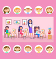 school lesson arts and drawing pupils at class vector image vector image