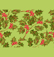 seamless pattern with holly branches and berries vector image vector image