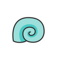 seashell flat color line icon isolated on vector image vector image