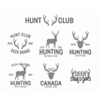 set vintage hunting and deer logo and label vector image vector image
