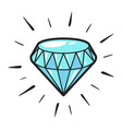 sparking blue diamond icon magic jewellery stone vector image