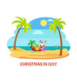 summer christmas in july shooting on beach vector image vector image