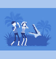 tourists lost in wild nature vector image vector image