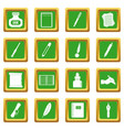 writing icons set green vector image vector image