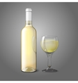 Blank realistic bottle for white wine with glass vector image